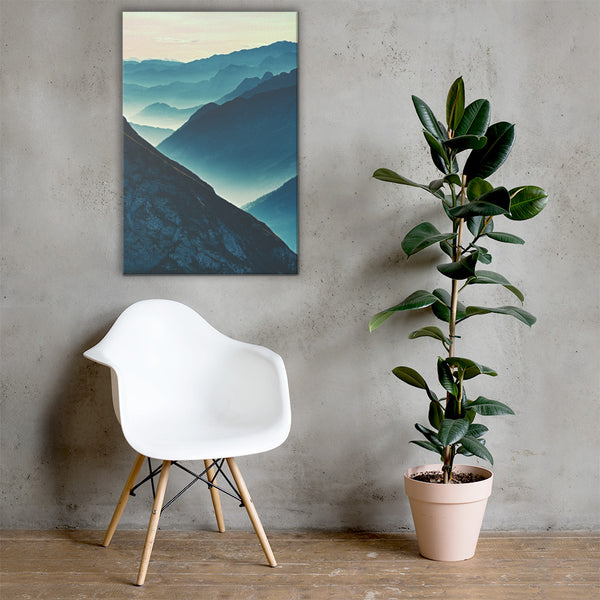 Misty Blue Silhouette Mountain Range Rural Landscape Canvas Wall Art Prints 24×36 - PIPAFINEART