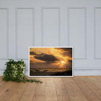 Anna Maria Island Cloudy Beach Sunset 1 Coastal Landscape Scene Framed Photo Paper Wall Art Prints White / 24×36