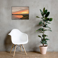 Sunset Over Woodland Marsh Coastal Landscape Canvas Wall Art Prints 18×24 - PIPAFINEART