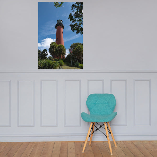 Jupiter Lighthouse 2 Color Landscape Photo Loose Wall Art Print 24×36 - PIPAFINEART