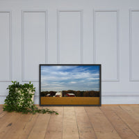 Red Barn in Golden Field Rural Landscape Framed Photo Paper Wall Art Prints Black / 24×36 - PIPAFINEART