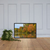 Autumn Tree Line Rural Landscape Framed Photo Paper Wall Art Prints Black / 24×36 - PIPAFINEART