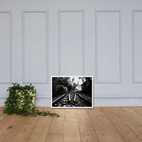 Lead Me Into The Light in Black and White Framed Photo Paper Rural / Farmhouse / Country Style Landscape Scene - Living Room Wall Art Print White / 18×24