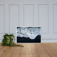 White Waters and Black Sand Coastal Landscape Framed Photo Paper Wall Art Prints White / 24×36 - PIPAFINEART