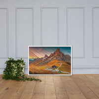 Faux Wood Majestic Sunset & Alpine Mountain Framed Photo Paper Wall Art Prints White / 24×36 - PIPAFINEART