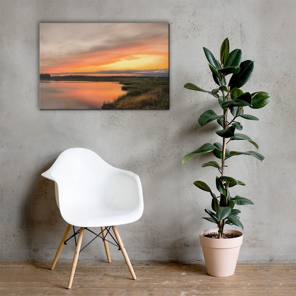 Sunset Over Woodland Marsh Coastal Landscape Canvas Wall Art Prints 24×36 - PIPAFINEART