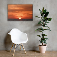 Fire in the Sky Coastal Sunset Landscape Photo Canvas Wall Art Print 24×36 - PIPAFINEART