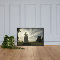 Turkey Point Lighthouse with Sun Flare Horizontal Framed Photo Paper Wall Art Prints Black / 24×36 - PIPAFINEART