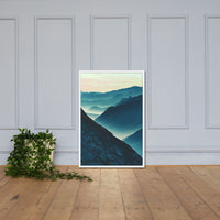 Misty Blue Silhouette Mountain Range Framed Photo Paper Wall Art Prints White / 24×36 - PIPAFINEART