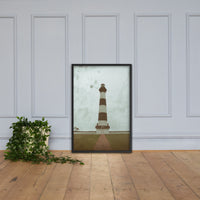 Aged Bodie Lighthouse Glass Plate Effect Coastal Landscape Framed Photo Paper Wall Art Prints Black / 24×36
