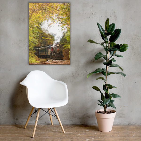 Steam Train with Autumn Foliage Rural Landscape Canvas Wall Art Prints 24×36 - PIPAFINEART