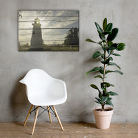 Faux Rustic Reclaimed Wood Turkey Point Lighthouse Canvas Wall Art Prints 24×36 - PIPAFINEART