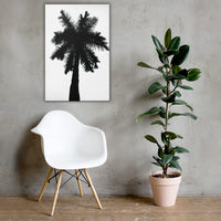 Palm Tree Silhouette on Pure White Botanical Nature Canvas Wall Art Print 24×36 - PIPAFINEART