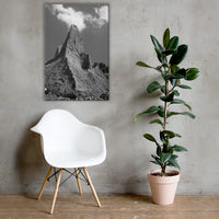 Chimney Bluff in Black and White Canvas Wall Art Prints Rural / Farmhouse / Country Style Landscape Scene 24×36