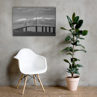 Skyway Bridge Black and White Coastal Landscape Canvas Wall Art Prints 24×36 - PIPAFINEART