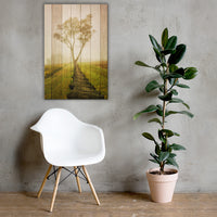 Faux Wood Calming Morning Rural Landscape Canvas Wall Art Prints 24×36 - PIPAFINEART