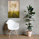 Faux Wood Calming Morning Canvas Wall Art Prints - Rural / Farmhouse / Country Style Landscape Scene 24×36