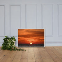 Fire in the Sky Coastal Sunset Landscape Photo Framed Wall Art Print White / 24×36 - PIPAFINEART