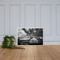 Aging Barn in the Morning Sun in Black and White Framed Photo Paper Wall Art Prints White / 24×36 - PIPAFINEART