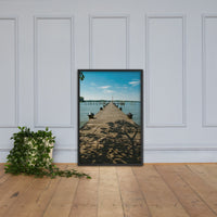 Endless Dock Framed Photo Paper Wall Art Prints - Coastal / Beach / Shore / Seascape Landscape Scene Black / 24×36