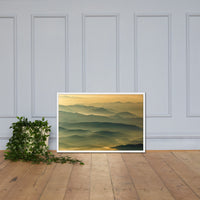 Foggy Mountain Layers at Sunset Landscape Framed Photo Paper Wall Art Prints Rural / Farmhouse / Country Style Landscape Scene White / 24×36