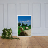 Hay Whatcha Doin in the Field Landscape Framed Photo Paper Wall Art Prints Rural / Farmhouse / Country Style Landscape Scene White / 24×36