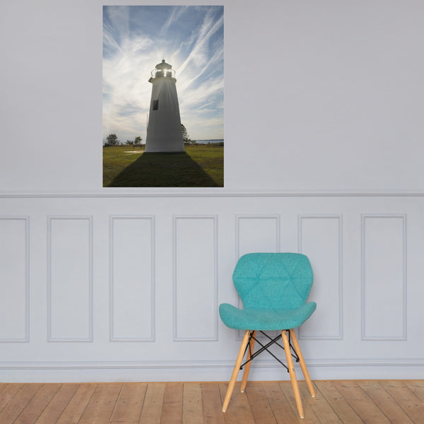 Turkey Point Lighthouse with Sun Flare Landscape Photo Loose Wall Art Print 24×36 - PIPAFINEART