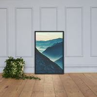 Misty Blue Silhouette Mountain Range Framed Photo Paper Wall Art Prints Black / 24×36 - PIPAFINEART