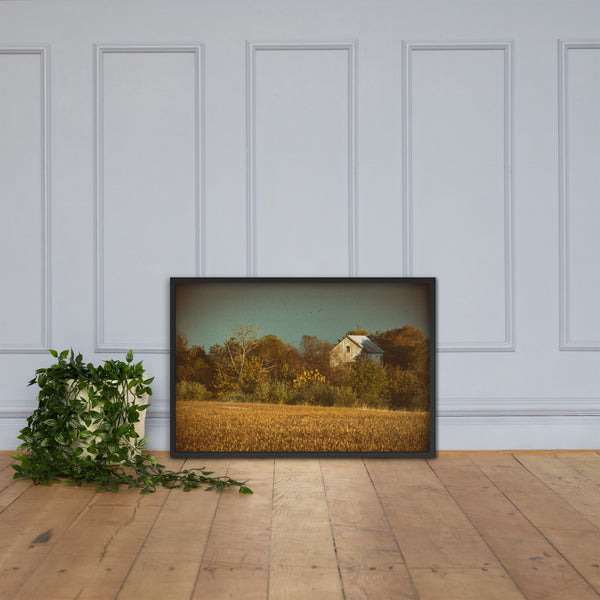 Abandoned Barn In The Trees Colorized Framed Photo Paper Wall Art Prints Black / 24×36 - PIPAFINEART