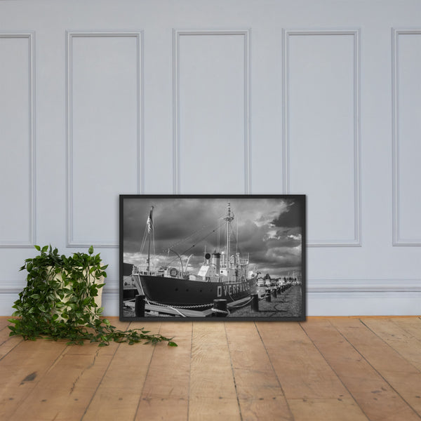 Overfalls Lightship Lewes Black and White Framed Photo Paper Wall Art Prints Black / 24×36 - PIPAFINEART
