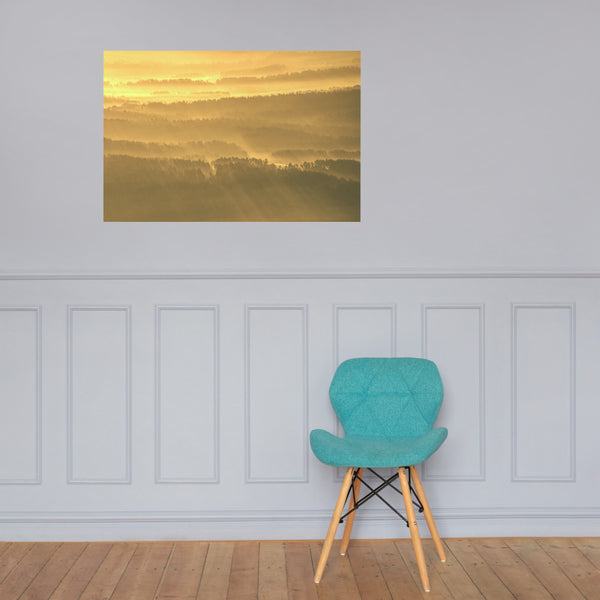 Golden Mist Valley - Hills & Mountain Range Landscape Photo Loose Wall Art Prints 24×36 - PIPAFINEART