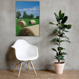 Hay Whatcha Doin' in the Field Rural Landscape Canvas Wall Art Prints Rural / Farmhouse / Country Style Landscape Scene 24×36
