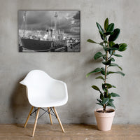 Overfalls Lightship Black and White Coastal Landscape Canvas Wall Art Prints 24×36 - PIPAFINEART