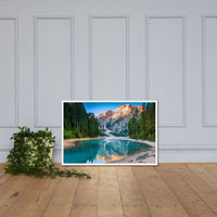 Misty Lake and Snow-cap Mountain Reflections Framed Photo Paper Wall Art Prints White / 24×36 - PIPAFINEART