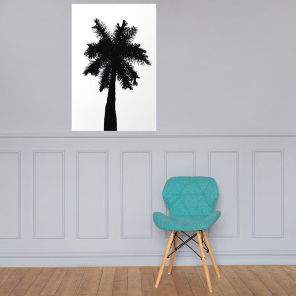 Palm Tree Silhouette on Pure White Botanical Nature Photo Loose Unframed Wall Art Prints 24×36 - PIPAFINEART