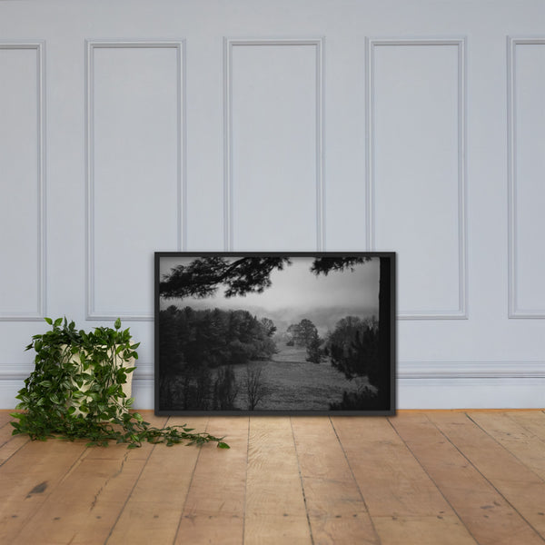 Mist of Valley Forge in Black and White Framed Photo Paper Wall Art Prints Black / 24×36 - PIPAFINEART