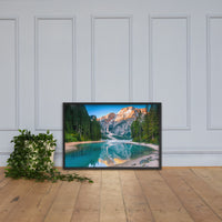 Misty Lake and Snow-cap Mountain Reflections Framed Photo Paper Wall Art Prints Black / 24×36 - PIPAFINEART