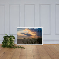 Anna Maria Island Cloudy Beach Sunset 2 Coastal Landscape Scene Photo Framed Photo Paper Wall Art Prints White / 24×36