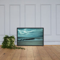 Blue Morning at Rehoboth Coastal / Beach / Shore / Seascape Landscape Scene Framed Photo Paper Wall Art Prints Black / 24×36