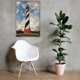 Cape Hatteras Lighthouse Landscape Photo Faux Wood Panels Canvas Wall Art Prints Coastal / Beach / Shore / Seascape Landscape Scene24×36