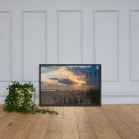 Anna Maria Island Cloudy Beach Sunset 2 Coastal Landscape Scene Photo Framed Photo Paper Wall Art Prints Black / 24×36