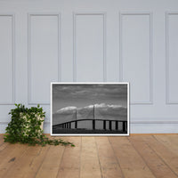 Skyway Bridge Black and White Coastal Landscape Framed Photo Paper Wall Art Prints White / 24×36 - PIPAFINEART
