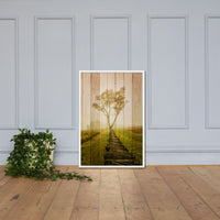 Faux Wood Calming Morning Framed Photo Paper Wall Art Prints - Rural / Farmhouse / Country Style Landscape Scene White / 24×36