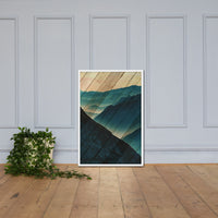 Faux Wood Misty Blue Silhouette Mountain Range Landscape Framed Photo Paper Wall Art Prints Rural / Farmhouse / Country Style Landscape Scene White / 24×36