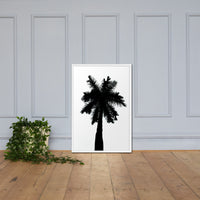 Palm Tree Silhouette on Pure White Botanical Nature Photo Framed Wall Art Print White / 24×36 - PIPAFINEART