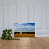 Red Barn in Golden Field Rural Landscape Framed Photo Paper Wall Art Prints White / 24×36 - PIPAFINEART