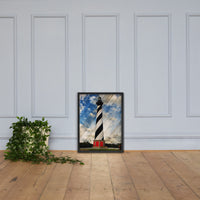 Cape Hatteras Lighthouse Landscape Photo Faux Wood Framed Photo Paper Wall Art Prints - Coastal / Beach / Shore / Seascape Landscape Scene Black / 18×24