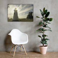 Turkey Point Lighthouse with Sun Flare Horizontal Canvas Wall Art Prints 24×36 - PIPAFINEART