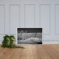 Sandy Beach Fence at the Shore Landscape Framed Photo Paper Wall Art Prints White / 24×36 - PIPAFINEART