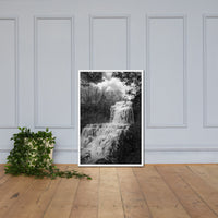 Chittenango Waterfall in Black and White Framed Photo Paper Wall Art Prints Rural / Farmhouse / Country Style Landscape Scene White / 24×36